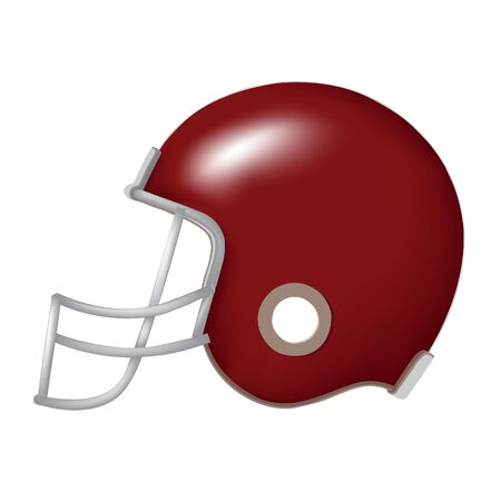 Side view of red vintage football helmet vector isolated on white
