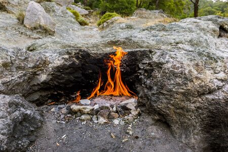 Yanartas burning stones is a geographical feature near the Olympos valley and national park in Antalya Province in southwestern Turkey