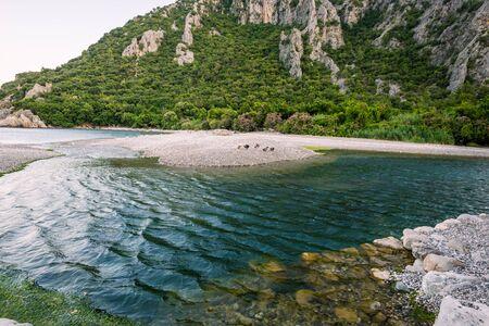 Beach near of ancient greek and roman ancient city of Olympos coast Antalya Turkey