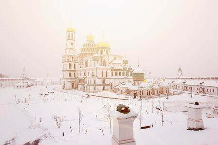 The panorama of New Jerusalem monastery, Moscow in winther time