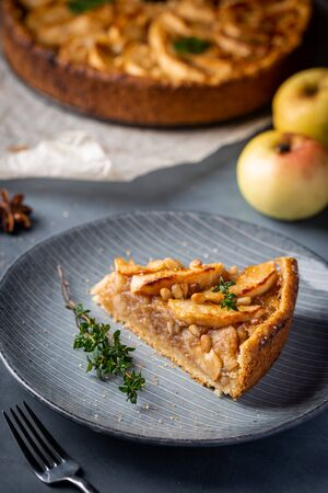 Slice of homemade delicious fresh baked Rustic Apple Pie on gray backgrounf