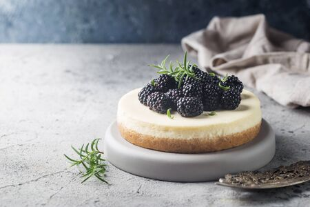 New York cheesecake or classic cheesecake with fresh berries on gray stone background Stock fotó