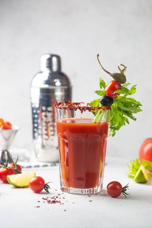 Bloody Mary cocktail. Alcoholic drink with vodka in a glass