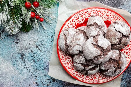 Chocolate crinkle cookies with powdered sugar icing, top view Stok Fotoğraf