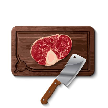Fresh raw beef meat and butcher meat knife on a cutting board isolated on white background Illusztráció