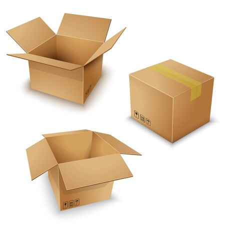 brown box pack set vector ill