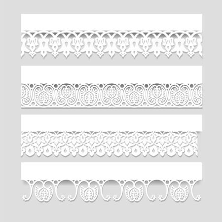 Set of white seamless lace borders with shadows, ornamental paper lines, vector