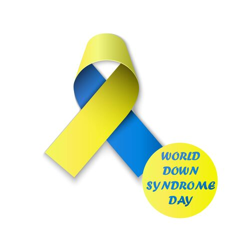 World Down Syndrome Day poster. WDSD. Detailed badge. Blue and yellow ribbon. Low poly, geometric. eps10 Иллюстрация