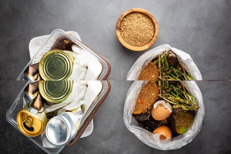 Organic food wastes in a bucket, shot from above. Zero waste, recycle, waste sorting concept - top view of peels and leftovers of fruit and vegetables