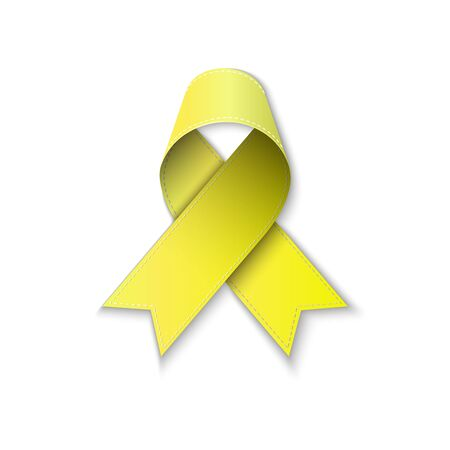 childhood cancer awareness ribbon on white backgroung