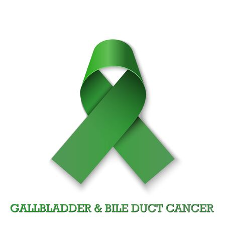 Gallbladder and Bile Duct Cancer Awareness Month. Realistic Kelly Green ribbon symbol. Medical Design. Vector illustration.