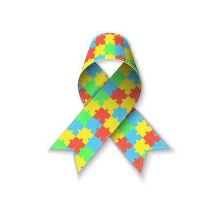 Colorful puzzle ribbon as symbol autism awareness Ilustracja