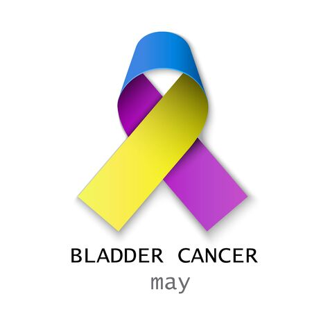 Bladder cancer awareness - purple,blue and marigold ribbon color