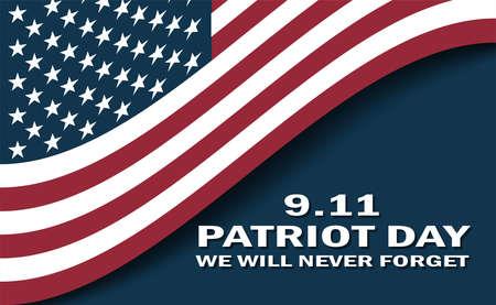 Sept 11 patriot day Usa flag poster Vector Illustration