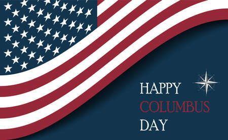 Columbus Day with usa flag Stock Illustratie