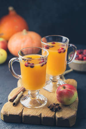 Spicy hot pumpkin punch or sangria in a glass with apple, cinnamon, anise. Halloween and Thanksgiving. Traditional autumn, winter drinks and cocktails Reklamní fotografie