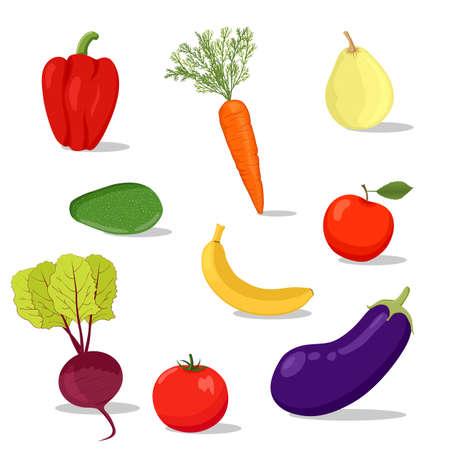 fresh cartoon veget and fruit Ilustração Vetorial