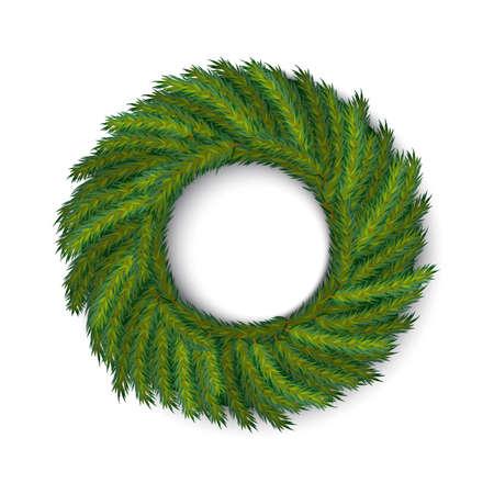 vector green wreath, global colors