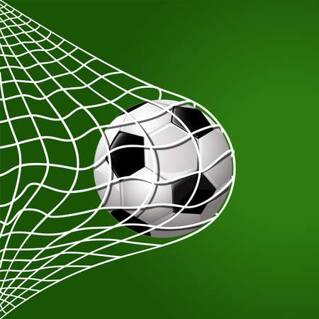 football hitting goal net background