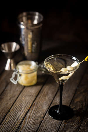 Gibson alcohol cocktail with martini and onions in martini glass. Decorated cocktail on dark background