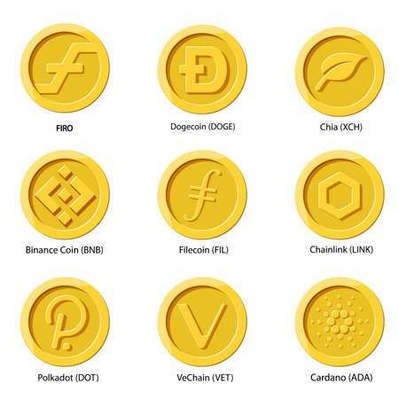 Crypto currency icons coin set