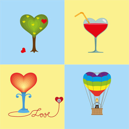 rainbow cocktail: Four hearts are united by one theme