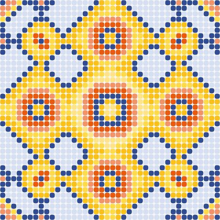 seamless ornament gently yellow squares in the blue edging Illustration