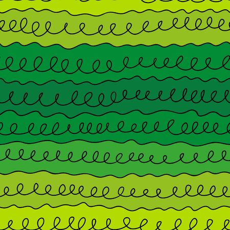 scrollwork: seamless pattern curls line on a green background