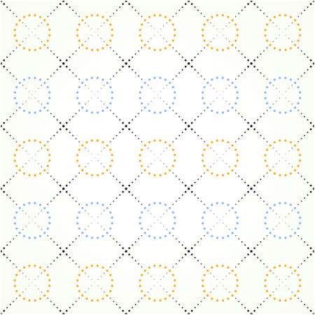 color grid of dots squares and circles on a light background
