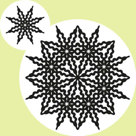 derived: Two round black ornament on a white background, the initial and derived Illustration
