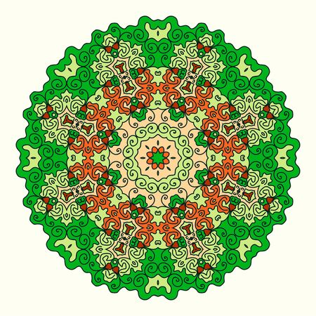 octagonal: round octagonal ornament, shades of green and orange, oriental style Illustration