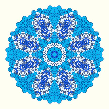 octogonal: ornamento octogonal redonda, tonos de azul, de estilo oriental Vectores