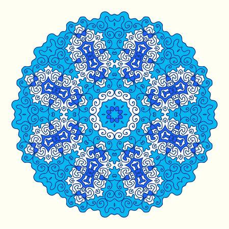 octagonal: round octagonal ornament, shades of blue, oriental style Illustration