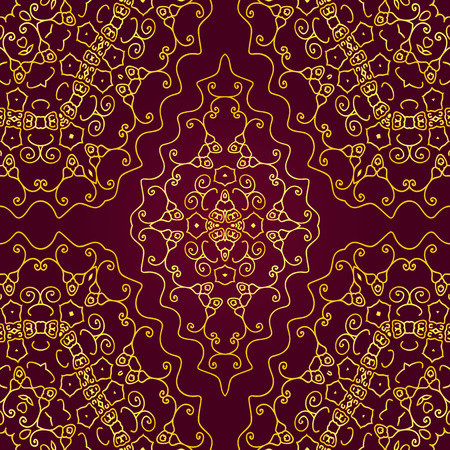 gold swirls: seamless pattern of gold swirls on a red background