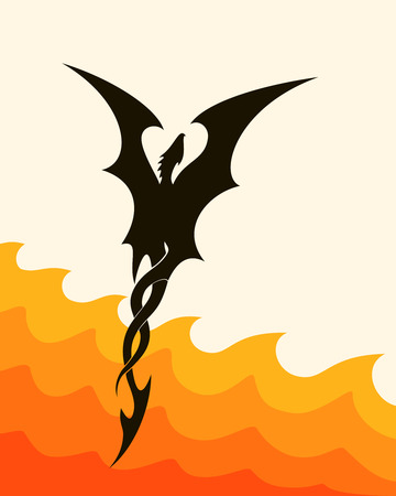flying dragon: abstract silhouette of a flying dragon over fire