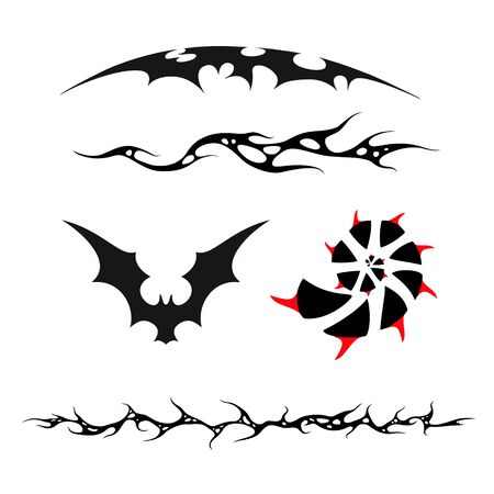 spikes: the set of patterns in the style of the tattoo, bat, spiral and spikes Illustration