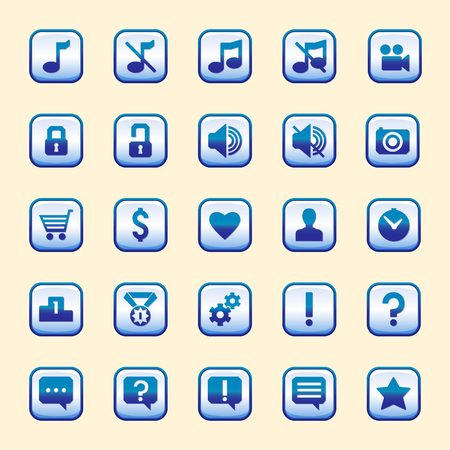blue buttons: the set of twenty-five blue buttons with a dark stroke, vector interface for games
