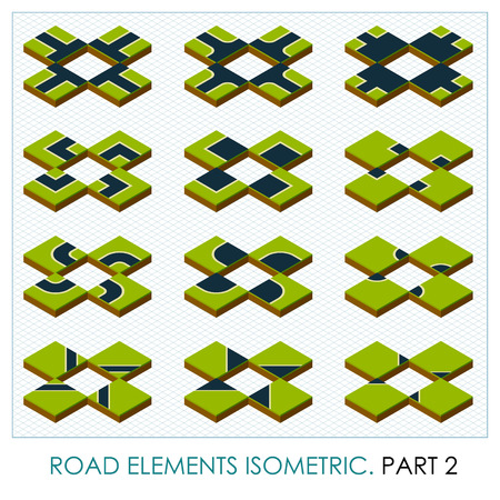 map toolkit: Road elements isometric, vector maps constructor