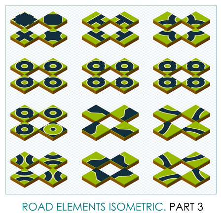 creation kit: Road elements isometric, vector maps constructor