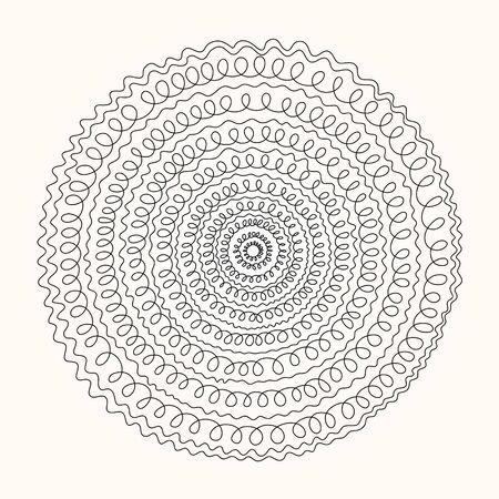 handwrite: round ornament, mandala  line curls on a light background Illustration