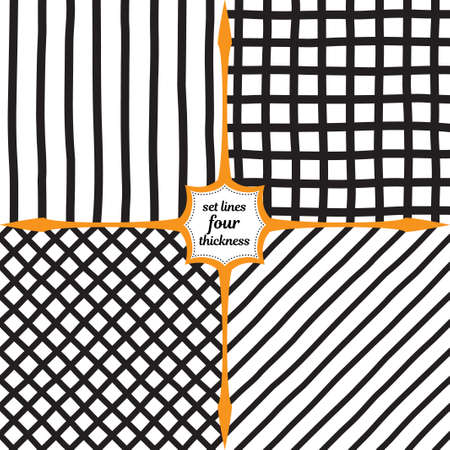 Set of four monochrome patterns. Wide vertical lines, mesh, diamonds and diagonal lines. Large grid of dark lines drawn by hand.