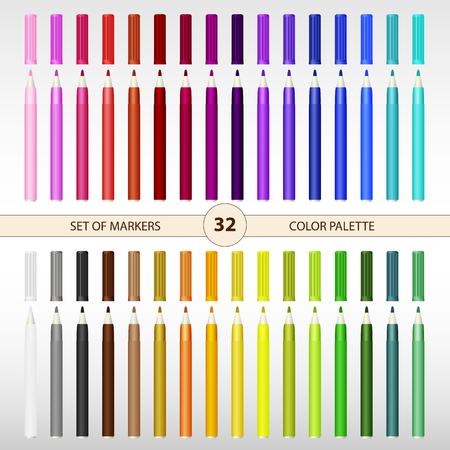 Color palette of felt-tip pens, stationery, multi-colored markers. Illustration