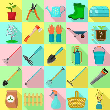 Flat set icons of garden tools, spring time. Flat style for web design. Illustration