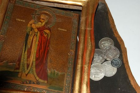 priceless: ancient icon of saint Vladimir and old Russian money