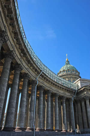 Vertical perspective view of pillars of Kazanskiy cathedral in St. Petersburg, Russia. photo