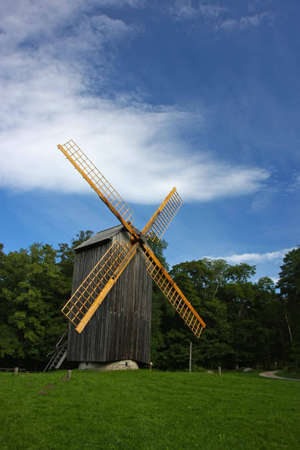 Old example of an alternative energy generation - wooden windmill.
