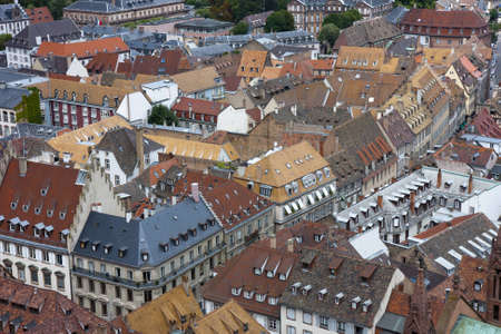 Various tiled roofs of historical buildings in Strasbourg city center