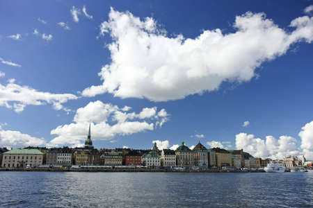 Panorama of an old city center in Stockholm, Sweden Standard-Bild