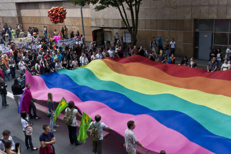 Le Mans, France - July 9 2011: Gay parade for homosexual and lesbian tolerance
