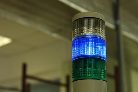 Industrial signal LED lights on an electronic equipment factory. Standard-Bild